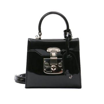 Gucci Mini Lady Lock Black Patent Leather 2 Way Handbag