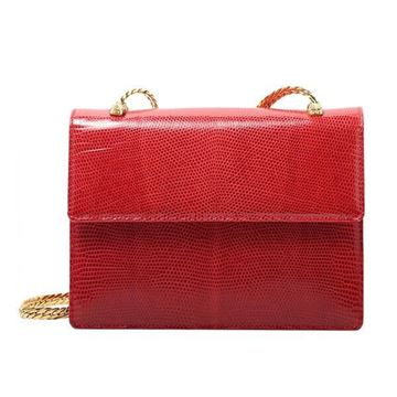 Gucci Red Lizard Mini Flap Front Shoulder Bag