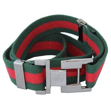 Gucci Green & Red Fabric Unisex belt