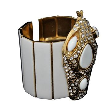 Carlo Zini White Snake Bangle Bracelet