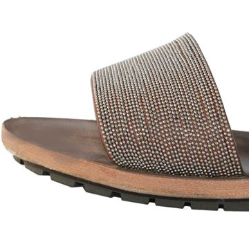 Brunello Cucinelli Micro Beaded Brown Leather Sandals