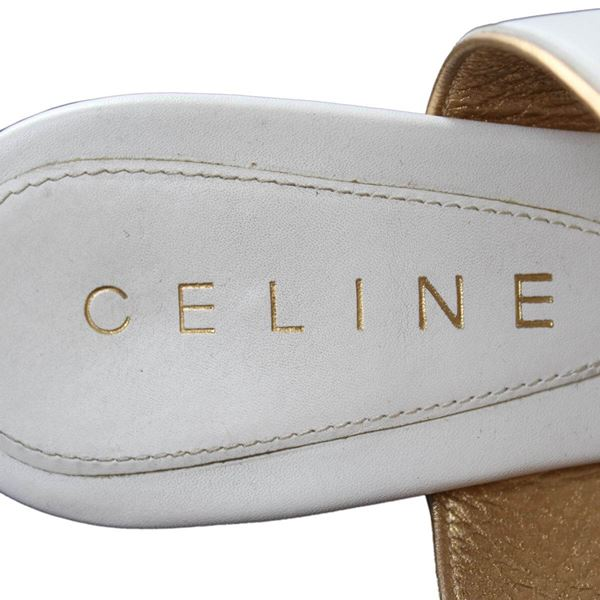 Celine Gold Edged White Leather High Heel Sandals