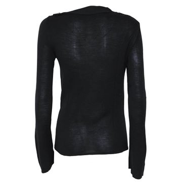 Gucci Wool and Silk Black Buckle Neck Sweater