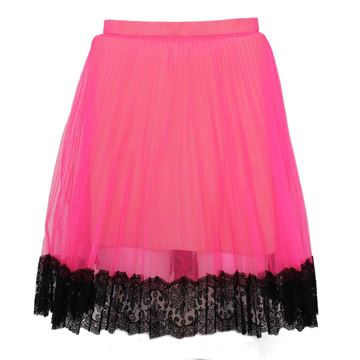 Christopher Kane Tulle Black Lace Edge Neon Pink Skirt
