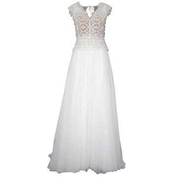 Alberta Ferretti White Lace Tulle Sequin Wedding Dress