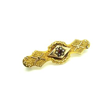 Antique Victorian 1888 9ct Gold Ruby & Pearl Brooch