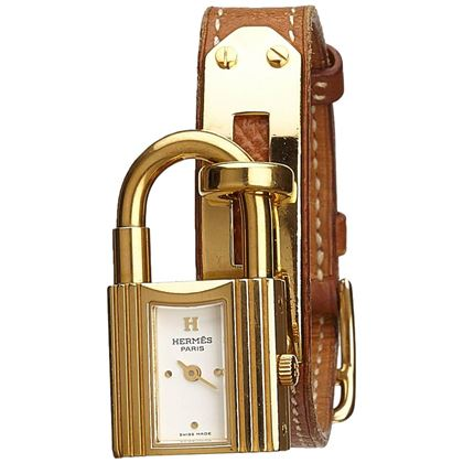 Hermes Kelly Pm Natural Barenia Calfskin Leather Strap Watches