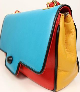 Pancaldi 1980s Colour Block Leather Red Blue and Yellow Crossbody Bag