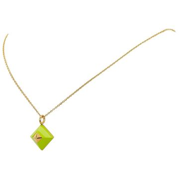 hermes-green-gold-toned-pyramid-pendant-necklace