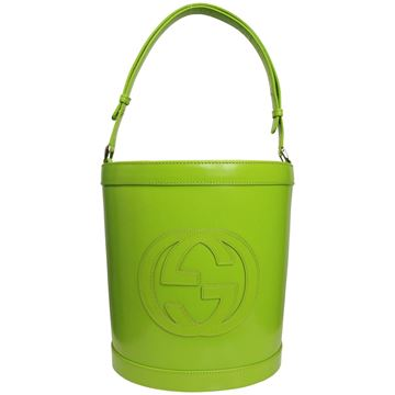"""Rare Gucci By Tom Ford Green leather """"GG"""" Logo Bucket Bag"""
