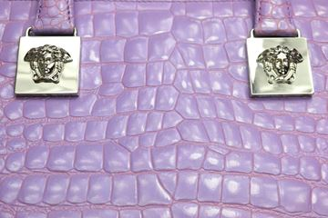 Rare Gianni Versace Couture Purple Croc Embossed Enamel Leather Top Handle Bag