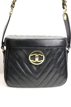 Chanel 1990s Caviar Leather Chevron Quilted Black Vanity Bag