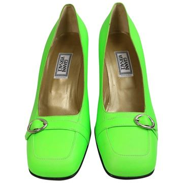 gianni-versace-neon-green-leather-square-toe-heels