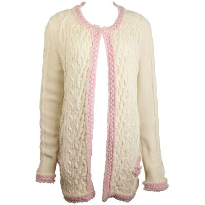 chanel-white-pink-fringe-trim-knitted-pattern-cardigan-sweater