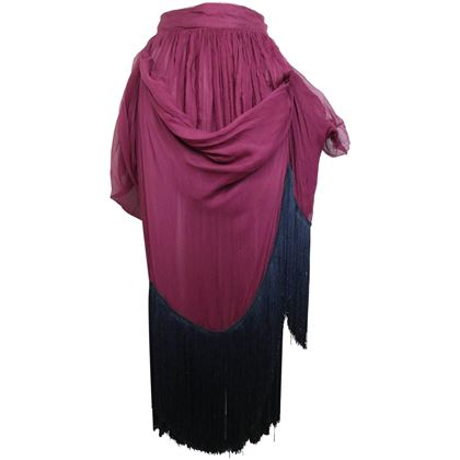 dolce-and-gabbana-maroon-silk-pleated-balloon-fringe-long-skirt