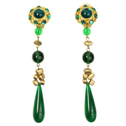 Les Bernard Gold Toned Setting Green Cabochon Stones Dangle Clip On Earrings