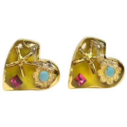 Christian Lacroix Yellow Heart Shaped Gold Toned Clip-On Earrings