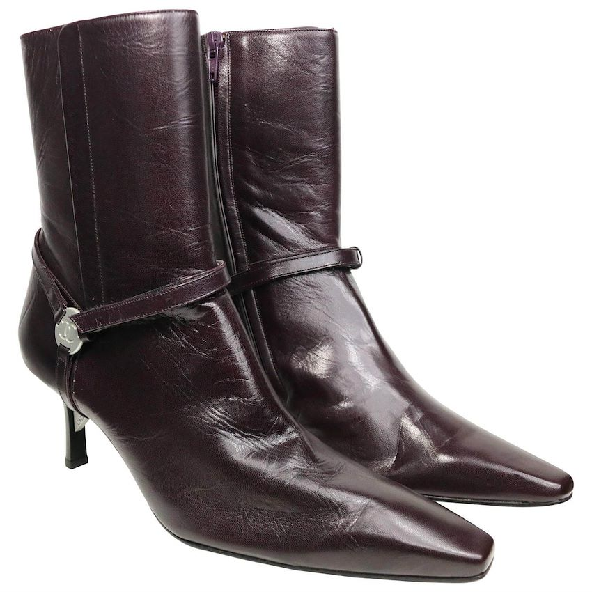 chanel burgundy boots