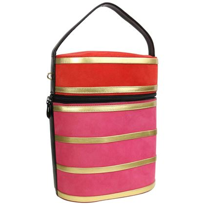 Charles Jourdan Red and Pink Suede Gold Leather Stripes Round Handbag with Strap