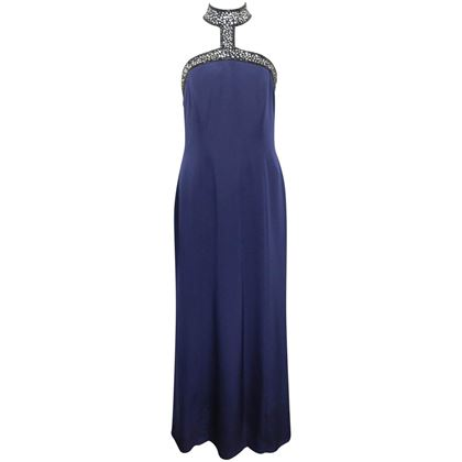 escada-couture-dark-blue-choker-neck-with-sequinsbeads-mermaid-silk-nightgown