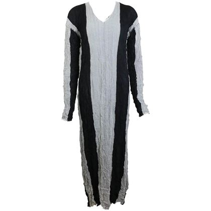 issey-miyake-blackgrey-striped-pleated-long-dress