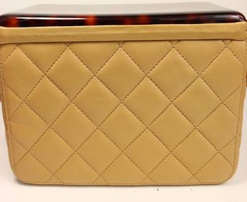 Chanel Beige Leather Quilted Tortoise Lucite Top Handle Box Bag