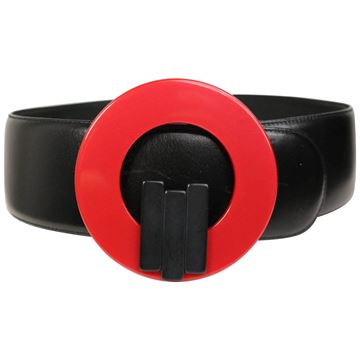 charles-jourdan-red-buckle-black-leather-belt
