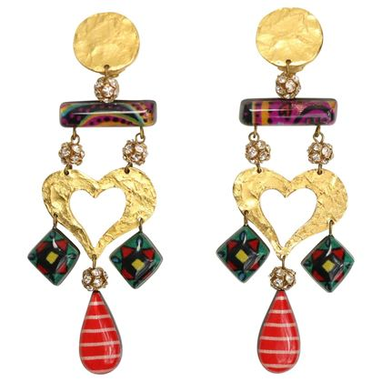 Christian Lacroix Multicoloured Gold Tone Heart Drop Clip On Earrings