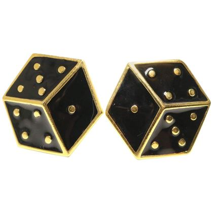 Escada Black Dice Clip On Earrings