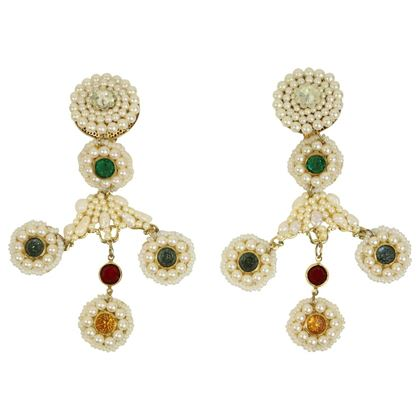 Share Pagano Pearl Faux Beaded Gold Toned Colours Rhinestones Clip-On Earrings