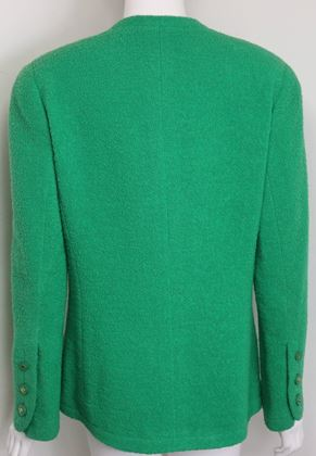 chanel-green-boucle-wool-collarless-double-breasted-jacket