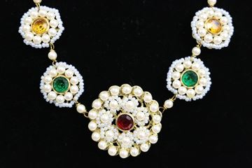 Sharra Pagano Pearl Beaded Gold Tone with Coloured Rhinestones Necklace