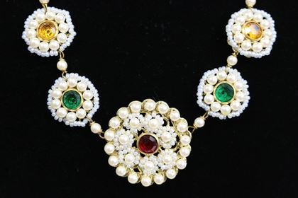 Sharra Pagano Pearl Beaded Gold Toned with Colours Rhinestones Necklace