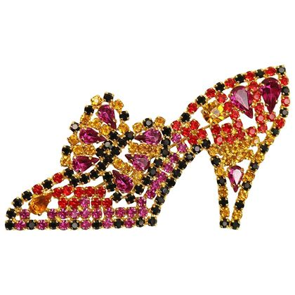 Escada Multi Coloured Crystal Rhinestones Gold Toned Setting Heels Brooch