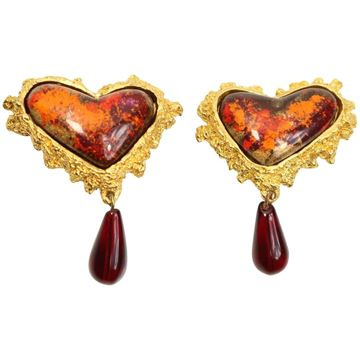 Christian Lacroix Heart Shaped Red and Orange Resin Earrings