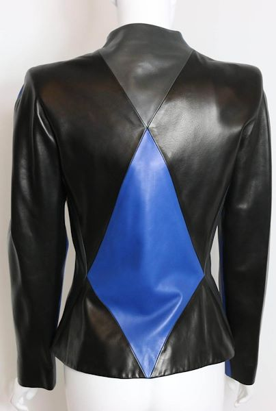Givenchy By Alexander McQueen Colour Blocked Geometric Leather Jacket