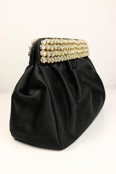 Casadei 1980s Gold Toned Crystal Rhinestone Top Black Satin Clutch Bag
