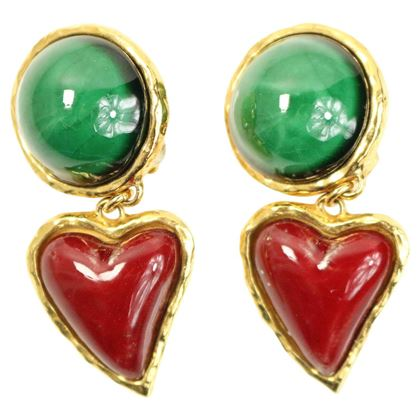 Christian Lacroix Green round and Red Heart Stones Gold Toned Clip On Earrings