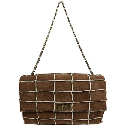 Chanel Brown Identification Suede Flap Bag