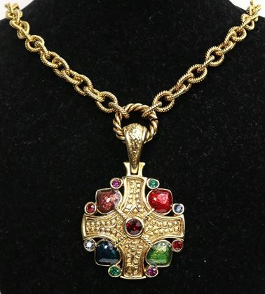 gold-toned-cross-multi-colour-cabochon-and-rhinestone-pendant-gold-link-necklace