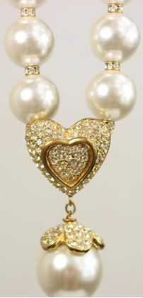 Escada Gold Toned Rhinestone Heart Shaped and Drop Clover Faux Pearls Necklace