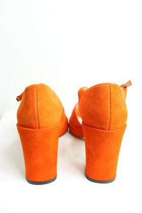 chanel-orange-suede-strap-sandals