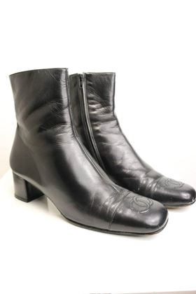 chanel-black-leather-square-toe-cc-logo-ankle-boots