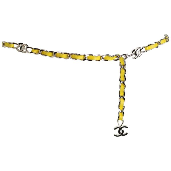 Chanel Yellow Leather Silver Chain Belt With Silver Quot Cc Quot Logo