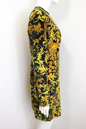gianni-versace-jeans-couture-gold-medusa-velour-dress