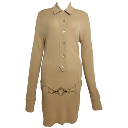 paco-rabanne-beige-belted-jumper-dress