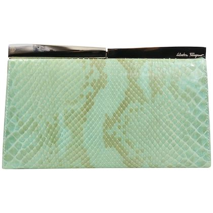 Salvatore Ferragamo Green Python Clutch