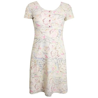 chanel-white-lycra-floral-and-coco-chanel-print-short-sleeves-dress