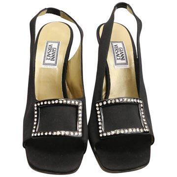 Gianni Versace Black Satin Open Toe Slingback Shoes with Rhinestones