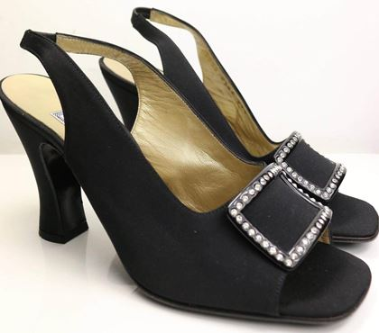 Gianni Versace Black Satin Open Toe Slingback with Rhinestones